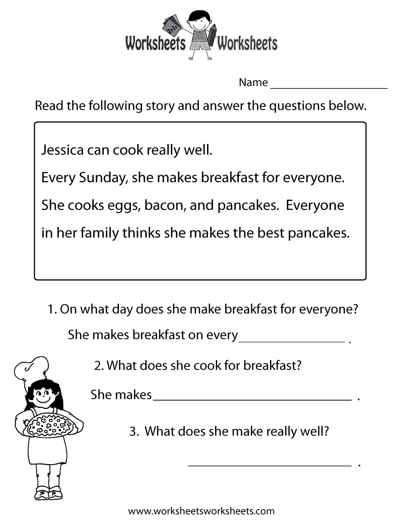 freeeducationworksheets for second grade – Free Kindergarten Reading Comprehension Worksheets
