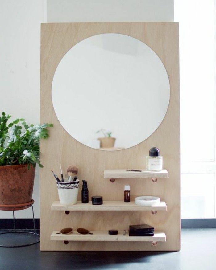 9 diy moebel kreative wohnideen schminktisch aus holz mit rundem spiegel