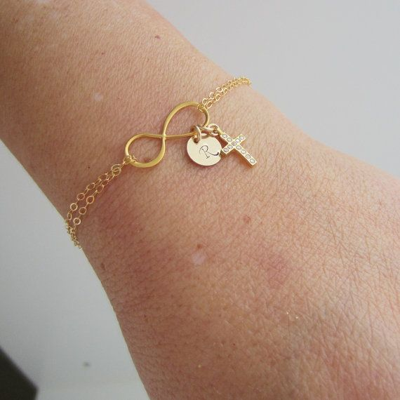 Personalized Infinity Bracelet, Personalized Friedship Bracelet, Cross Bracelet, Initial Bracelet, Monogram Gold Bracelet