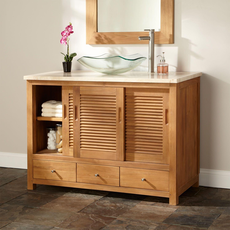 Furniture Cool Teak Powder Room Cabinet Vessel Sink