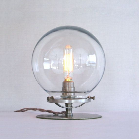 Beautiful Clear Glass Globe Table Lamp   Steampunk Table Lamp   Clear Globe Empyrean  Lamp   Modern