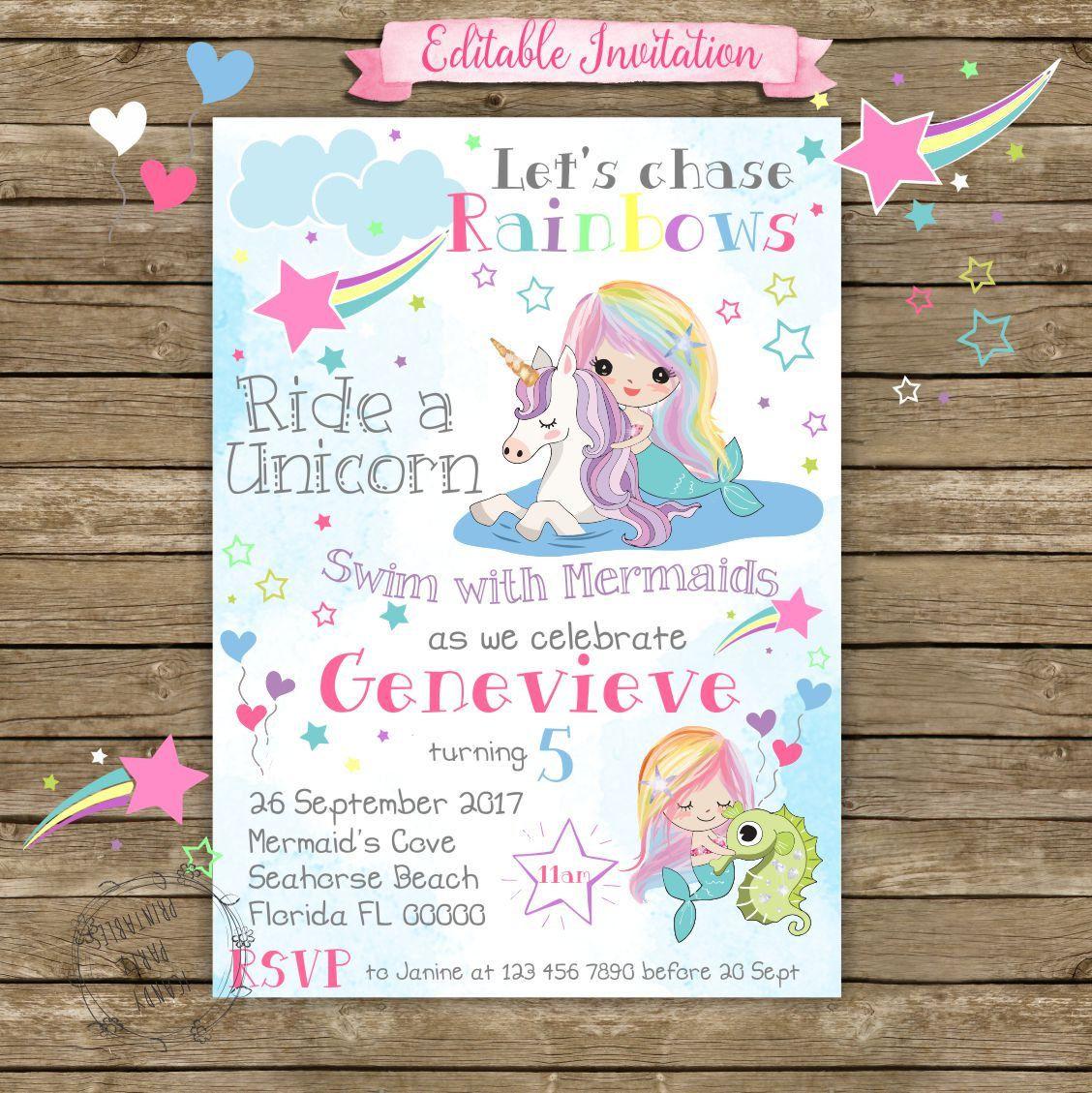 Unicorn Birthday Invitation, Unicorn Invitation, Mermaid Invitation ...