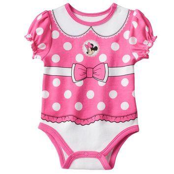 Disney's Minnie Mouse Polka Dot Front & Back Bodysuit - Baby Girl, Size:
