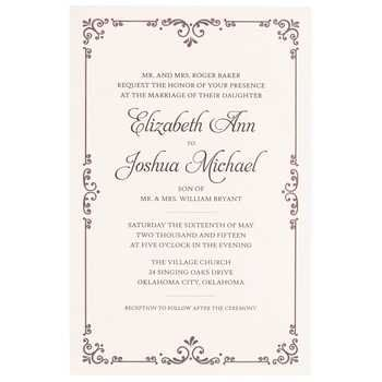 get brown ivory flourish border wedding invitations online or find other invitations thank you - Hobby Lobby Wedding Invitations