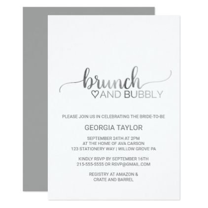 #invitations #wedding #bridalshower - #Simple Silver Foil Calligraphy Brunch and Bubbly Card