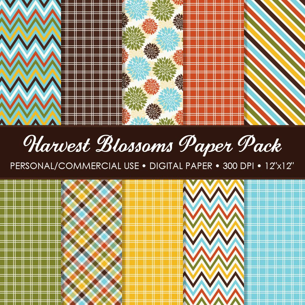 Harvest Blossoms Digital Printable Paper Pack - For Commercial or Personal Use. $3.00, via Etsy.