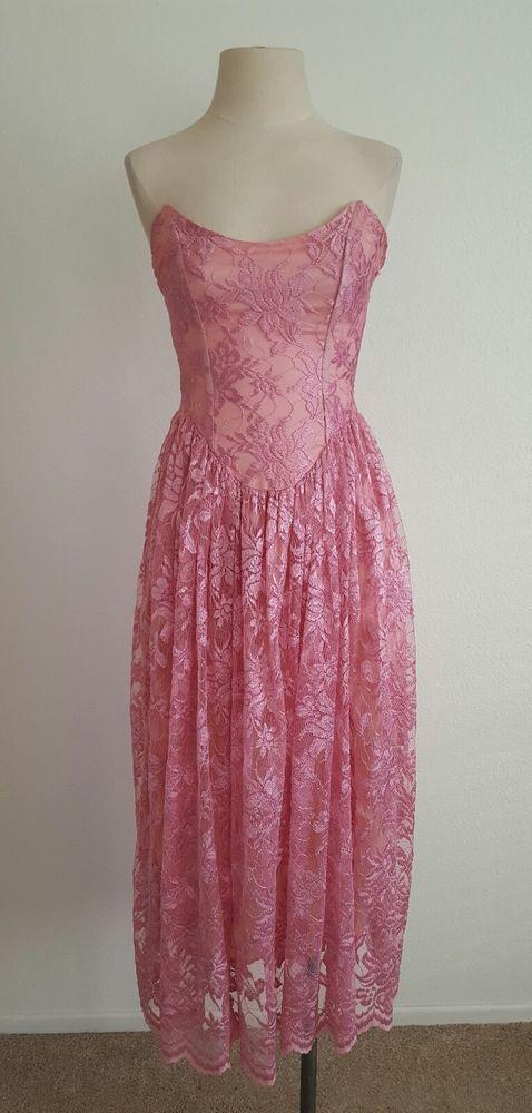 Vtg. Betsey Johnson Small Pink Lace Sweetheart Midi Dress Cocktail ...