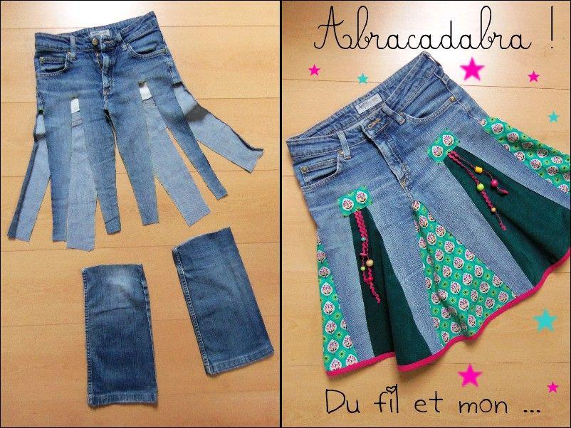 du fil et mon: diy : recycler un vieux jean en jupe | couture