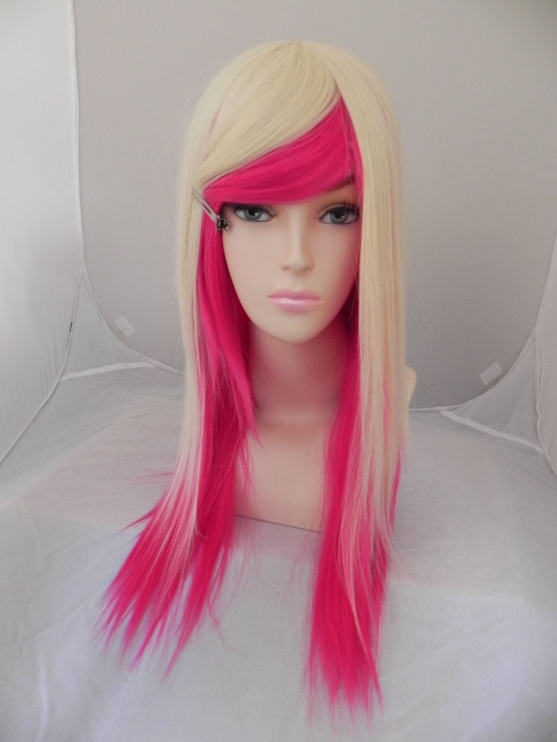 SALE // Hot Pink and Blonde / Long Straight Layered Wig by ExandOh, $114.75