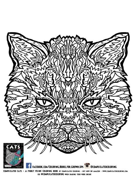 Free printable adult coloring pages from complicated cats for Free complex coloring pages
