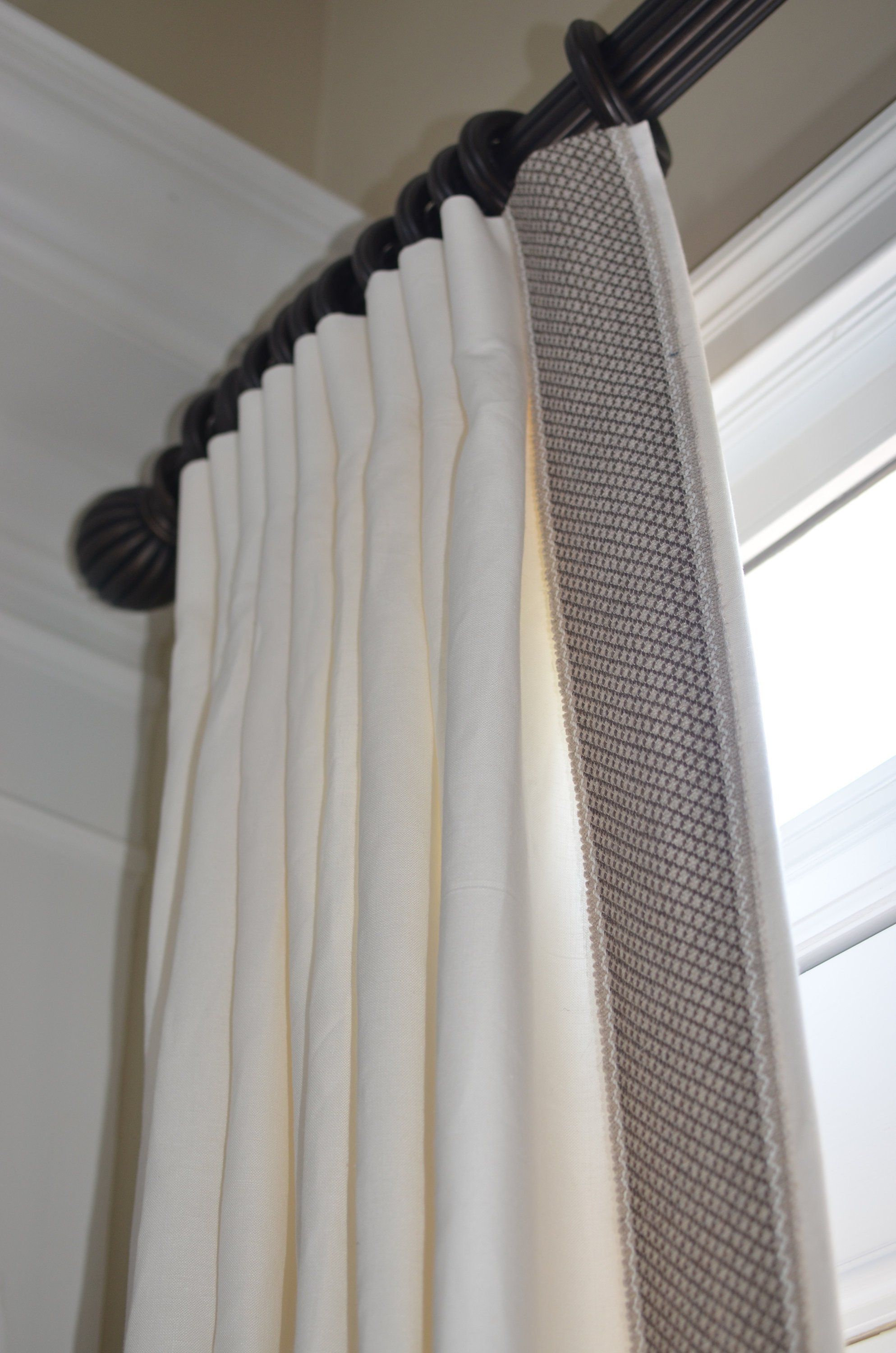 Pleated Linen Drapery Panels With Fringe Market Trim Made To Order