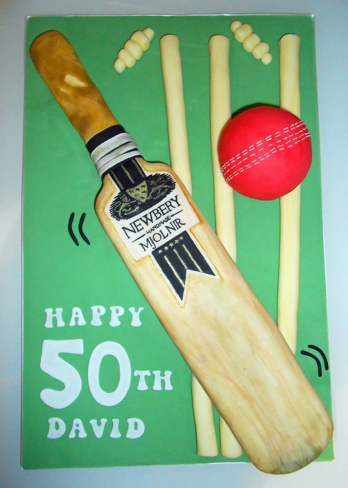Cricket Bat Cake By The Coloured Bubble Cakery Find Us