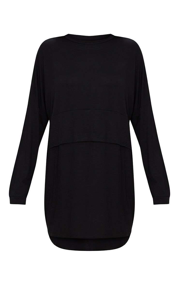 821ab6fc824 Black Long Sleeve Layer Jersey T Shirt Dress in 2019   Products ...