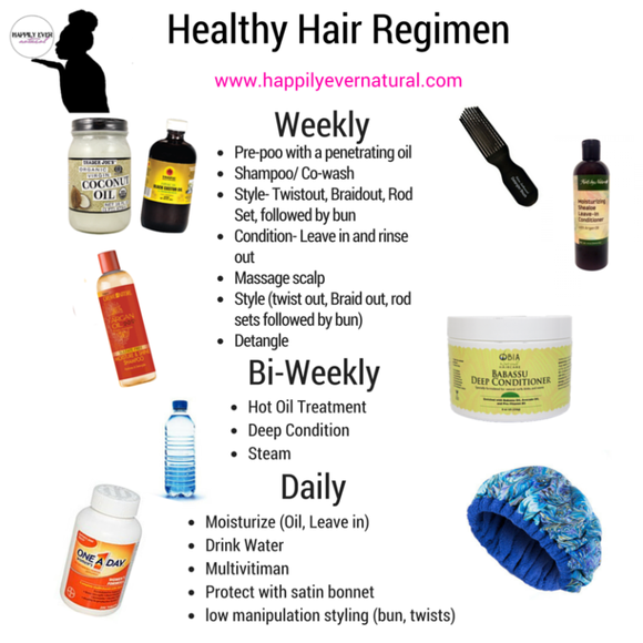 Tips For Creating Your Healthy Hair Regimen Happily Ever Natural Healthy Hair Regimen Hair Regimen Natural Hair Care Routine