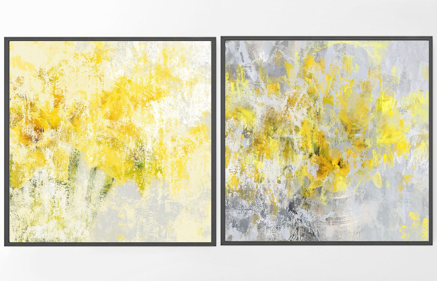 Large Abstract painting, wall art set of 2, yellow painting PRINT ...