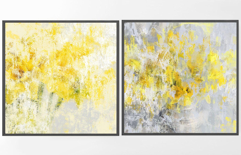 Large Abstract painting grey yellow wall art large wall prints