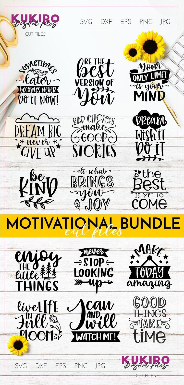 Motivational Quotes Svg Bundle - Inspirational Cut Files