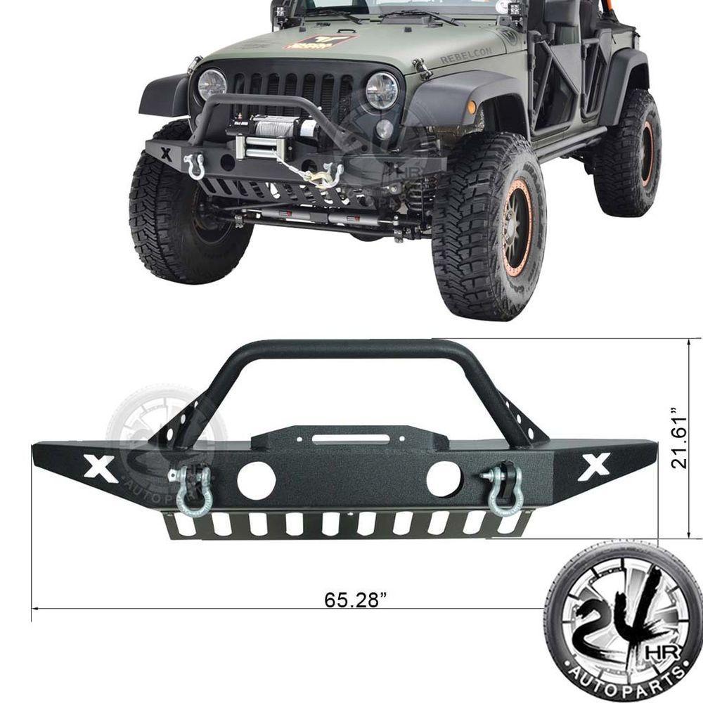 07 16 Jeep Wrangler Jk Front Bumper W Oe Fog Light Housing Black