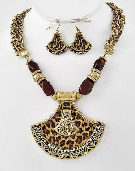 Antique Gold Leopard Animal Print Crystal Necklace & Earrings Set
