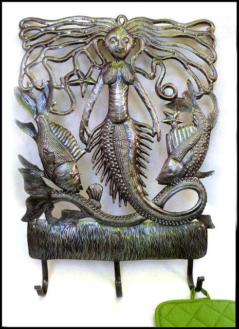 Mermaid Metal Wall Hook Home Decor Metal Wall Art Haitian Metal ...