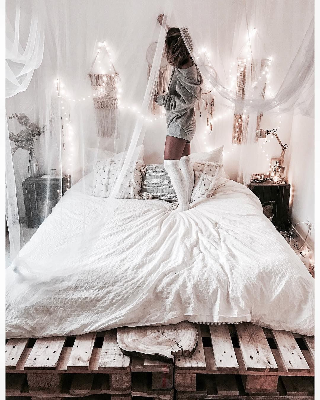 Noeudsjustine instagram white bohemian bedroom my home for Chambre instagram