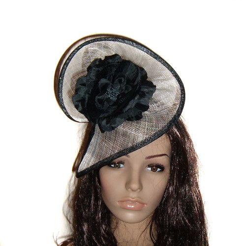 8cffb93eb7c Black Cream Flower Fascinator HAT Races Wedding Melbourne CUP Derby DAY