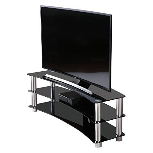 Fitueyes Curved Tempered Glass Tv Stand Suit For Up To 60 Inch Lcd