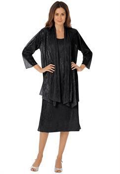 50735da8dc1 Plus Size Dazzling georgette jacket dress set with metallic shimmer ...