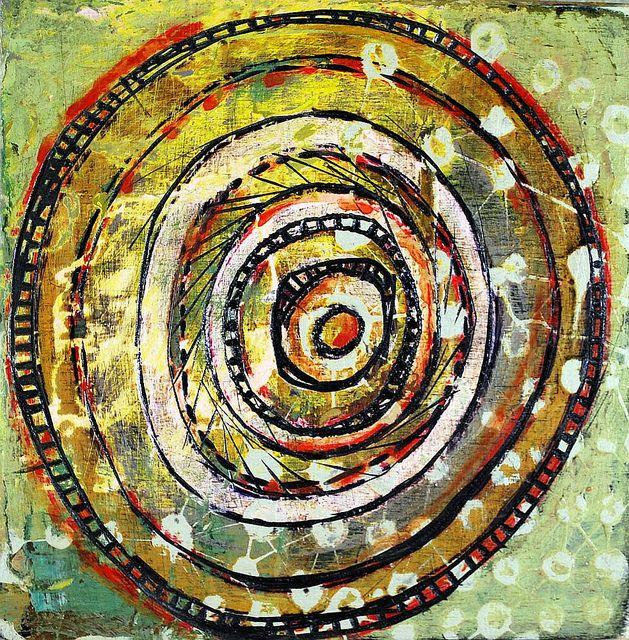 "Wheel 4 (c) Barbara Gilhooly 6x6"" acrylic, carving on birch"