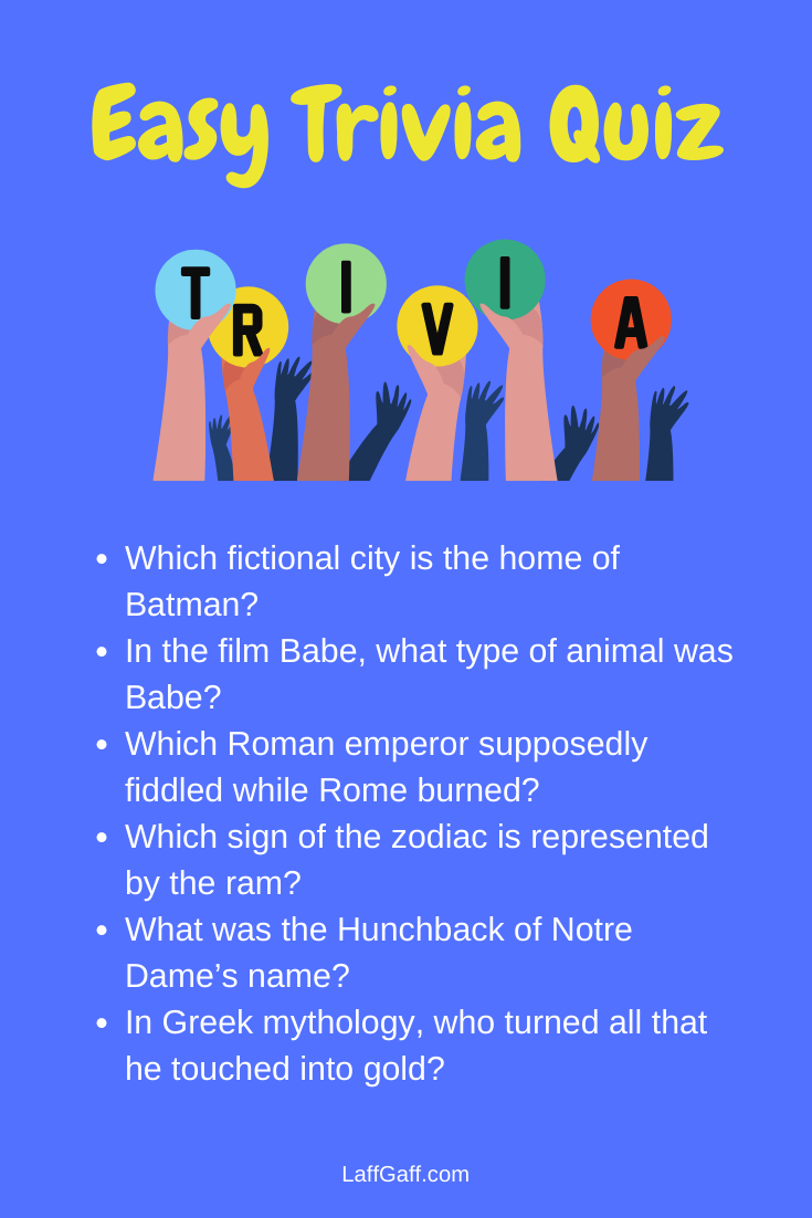 Easy Trivia Questions And Answers Trivia Questions And Answers Fun Trivia Questions Fun Quiz Questions