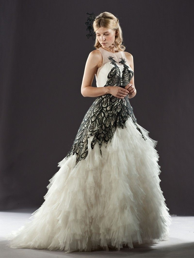 Black and White Bridal Gowns | image above â strapless black and ...
