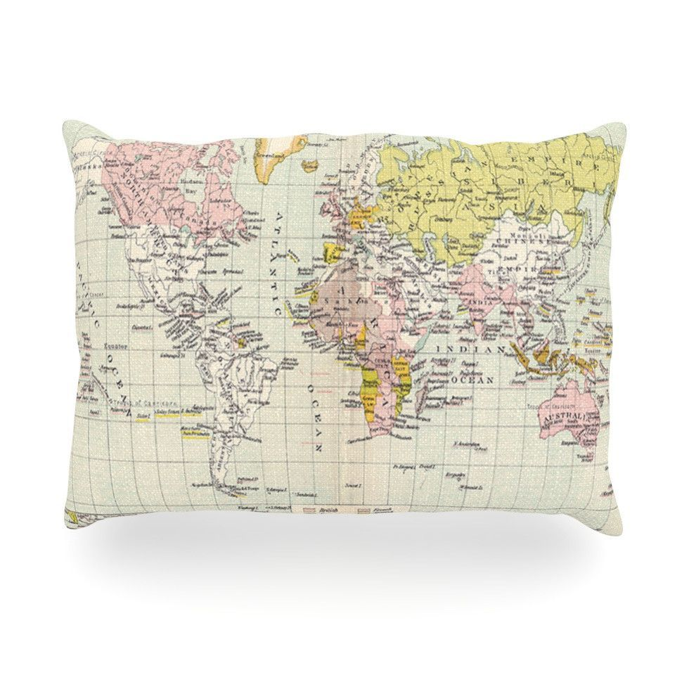 """Catherine Holcombe """"Travel"""" World Map Oblong Pillow"""