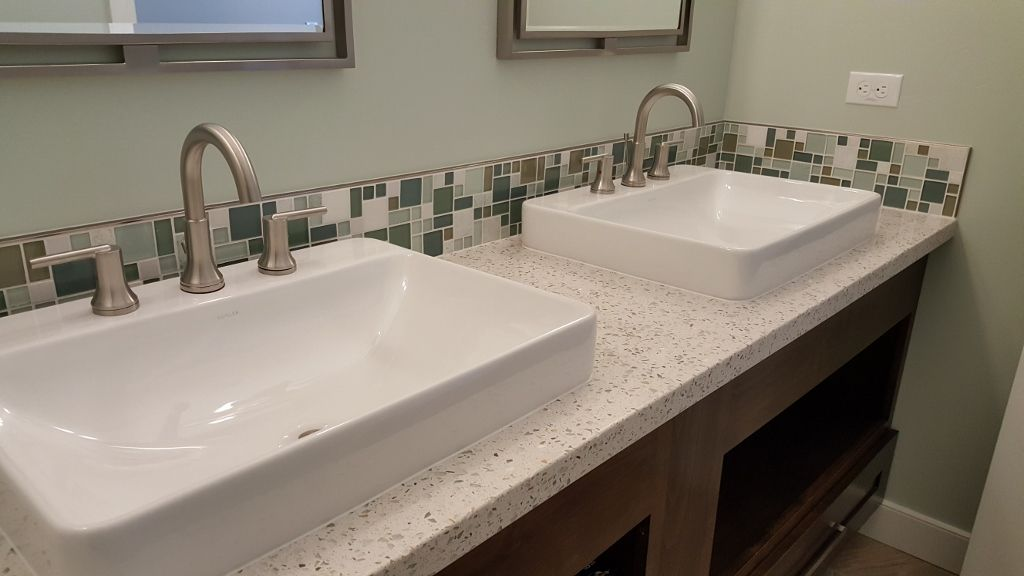 Contemporary Bathroom With Vessel Sinks Recycled Glass Counter Tops - Bathroom remodel prescott az