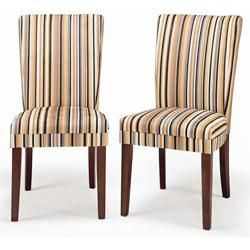Upholstered Parsons Dining Chairs Seating Parson Striped Chair Set Of Two
