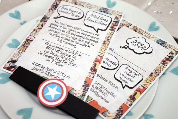 Matrimonio Tema Marvel : Vintage marvel dc comic book wedding invitation set sample