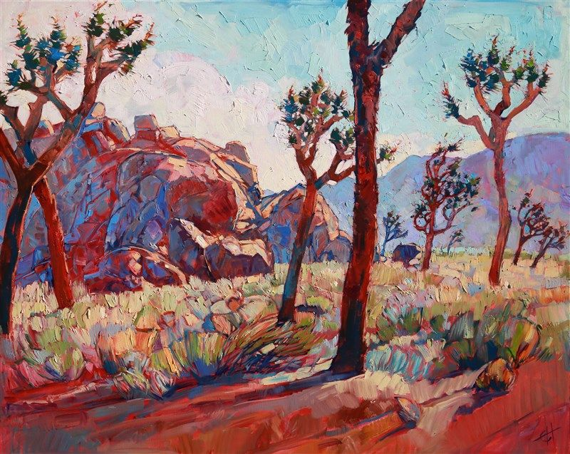 Joshua Tree National Park contemporary desertscape oil painting by Erin Hanson