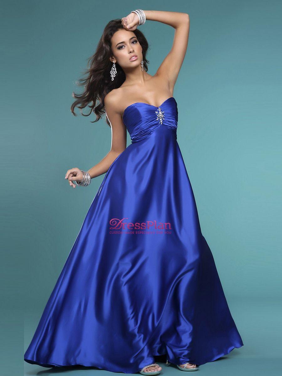Delicado vestido de novia azul rey de satín | Damas | Pinterest ...