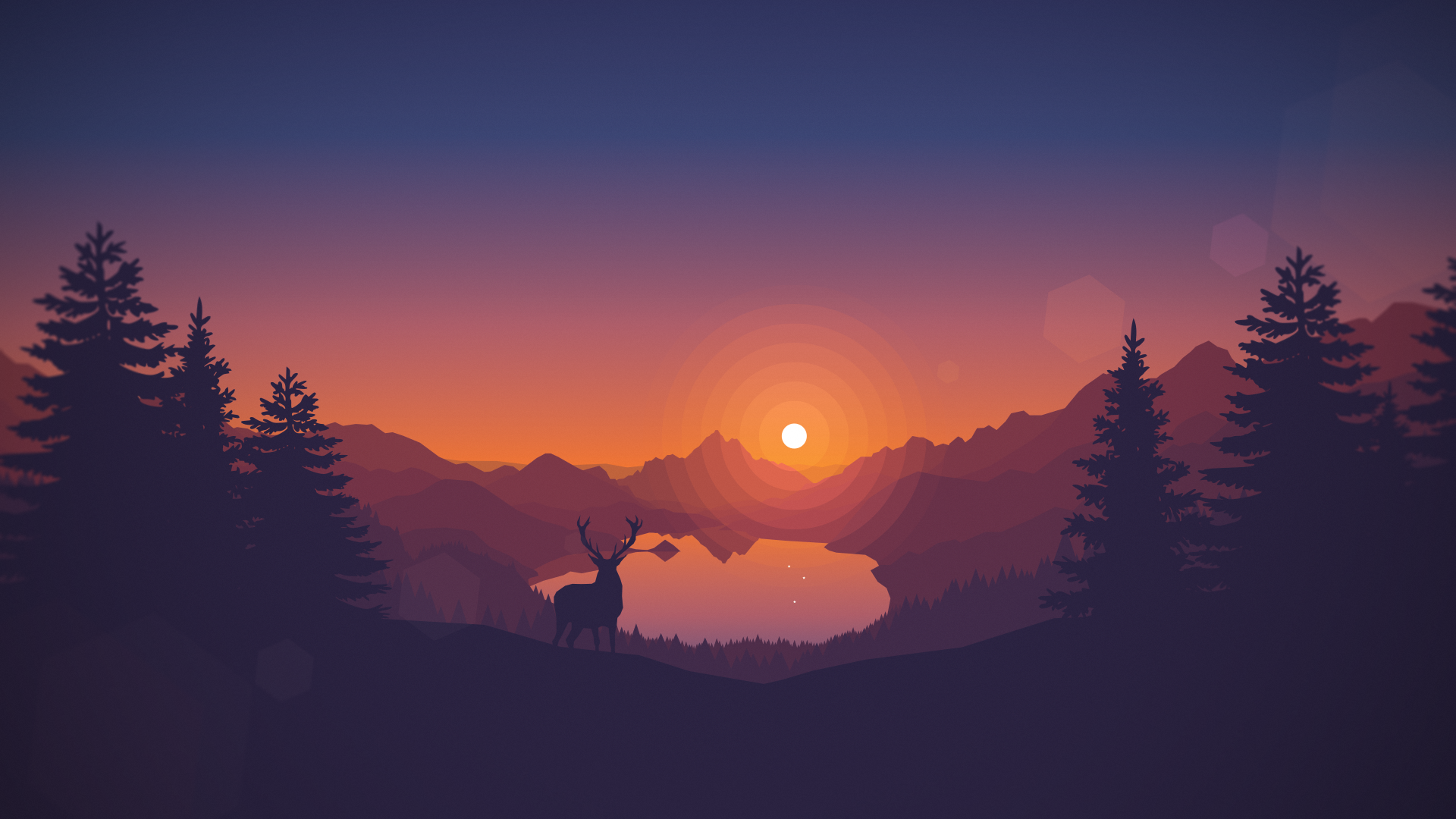 General 1920x1080 Sunset Drawing Animals Lake Landscape Deer Artwork Silhouette Nature Digital Art T Landscape Wallpaper Minimalist Wallpaper Minimal Wallpaper