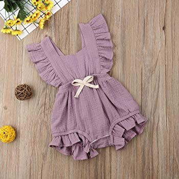 f9c12e257 Amazon.com: ITFABS Newborn Baby Girl Romper Bodysuits Cotton Flutter Sleeve  One-Piece Romper Outfits Clothes (Light Purple, 0-6 Months): Clothing