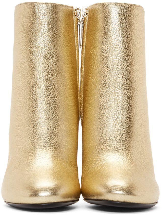 Saint Laurent - Gold Loulou Zipped Boots
