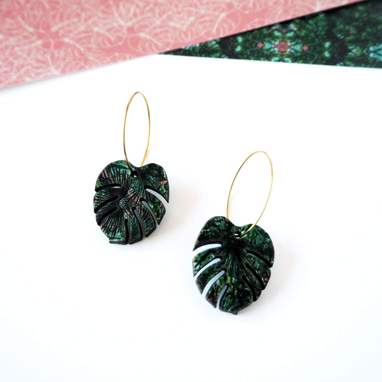 e8b0ad7408ce Green Plant Hoop Earrings - Tropical Leaf Jewellery - Monstera ...