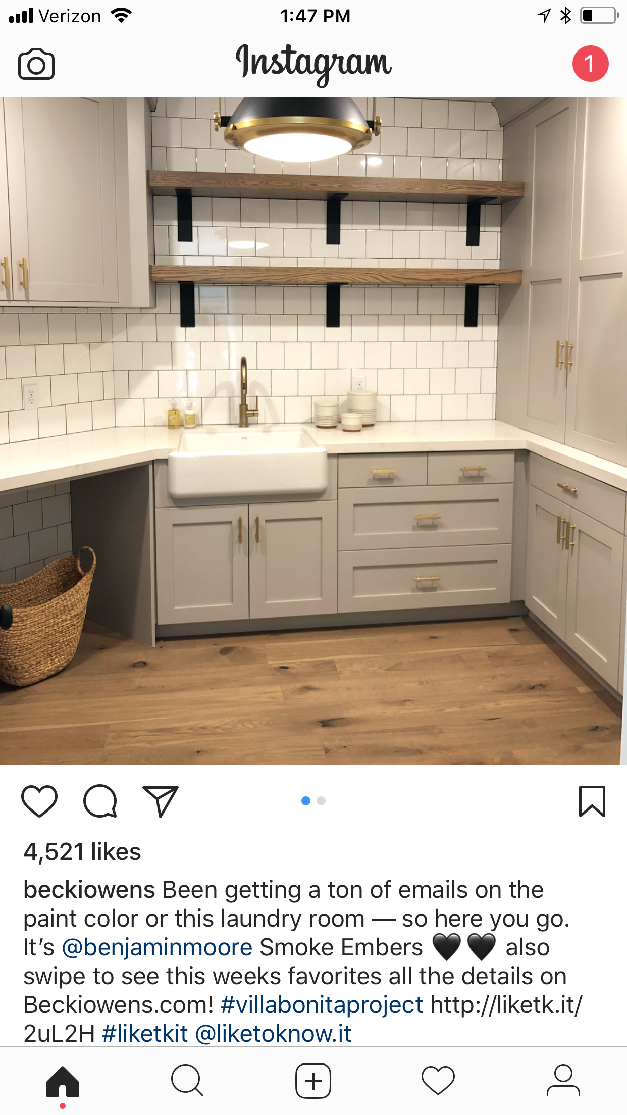 Works Matching Top And Bottom White Countertops That Match Backsplash Benjamin Moore Smoke Embers Greige Kitchen Cabinets Home Kitchens Greige Kitchen