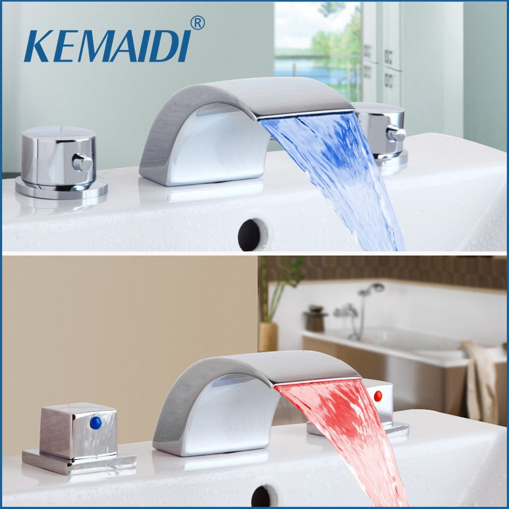 KEMAIDI Good Quality Bathroom Faucet 3 PCS Bathtub LED Basin Sink ...
