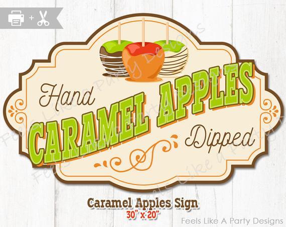 Caramel Apple Sign DIY Instant Download, Caramel Apple