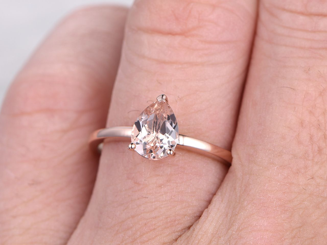 1 Carat Pear Shaped Morganite Engagement Ring Solitaire Promise Ring ...