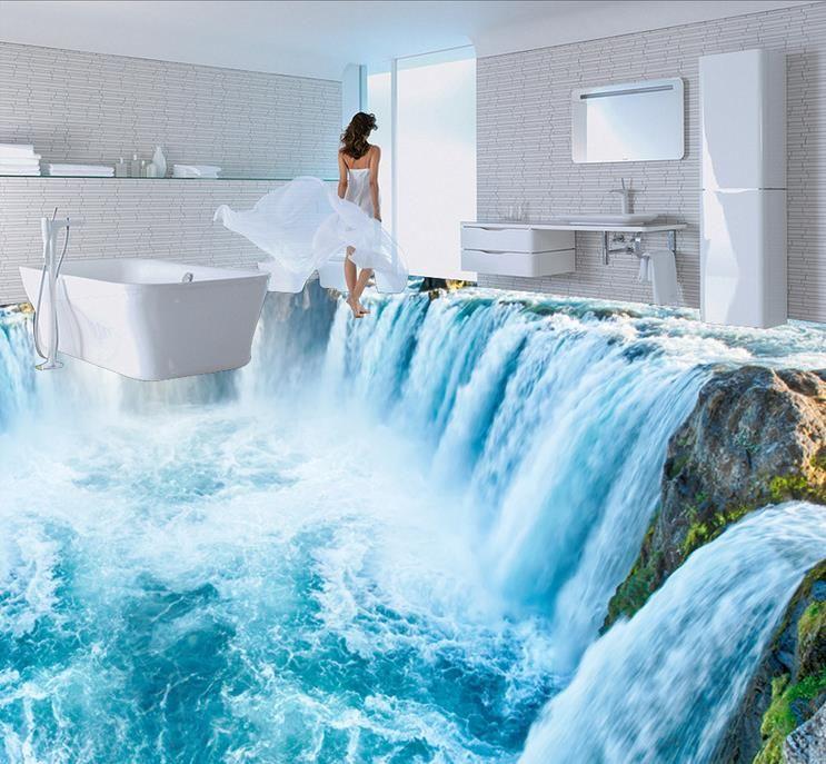 pvc vinyl flooring custom 3d stereoscopic wallpaper waterfall 3d - cascada de pared