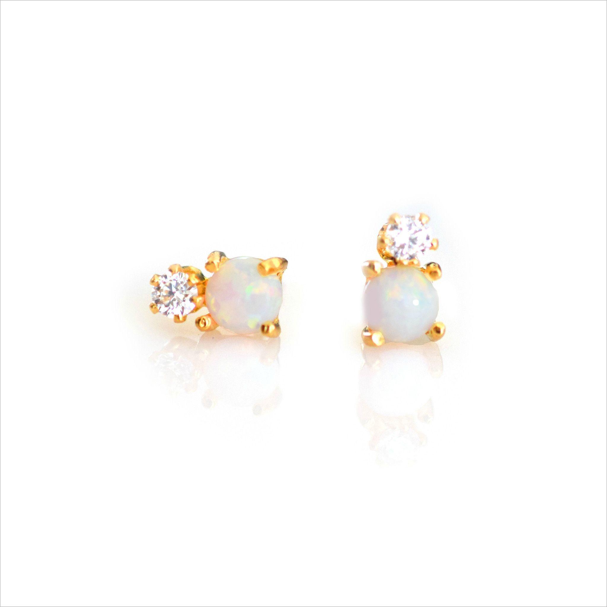 Opal and Diamond Dublet Studs