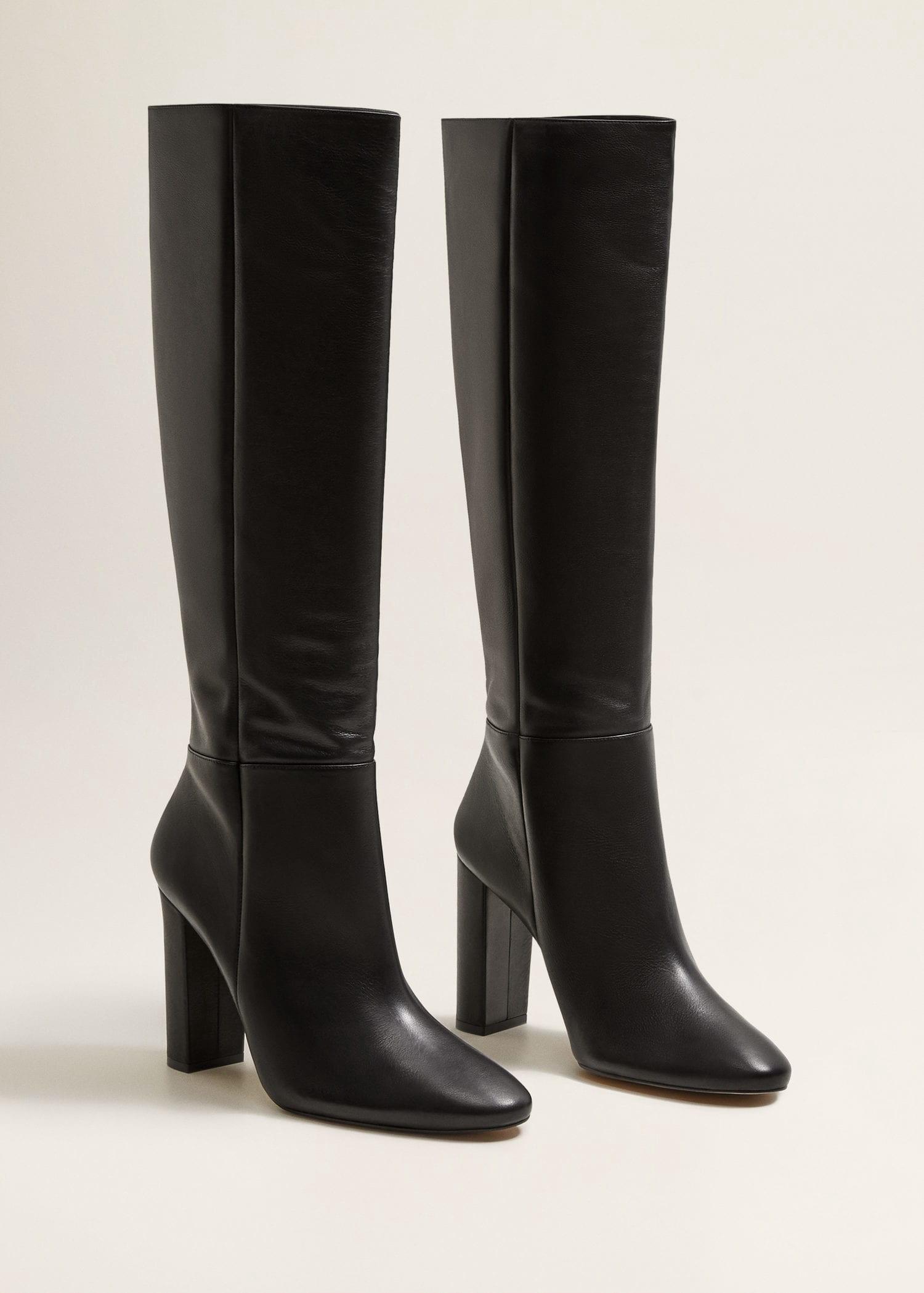 74132c1953c Mango Leather High-Leg Boots - White 6