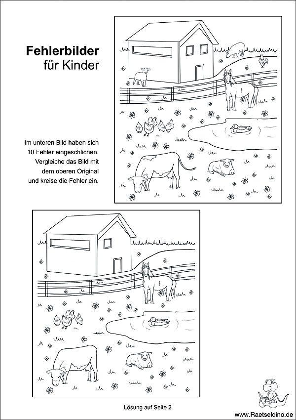 Fehlerbild für Kinder mit Tieren auf dem Bauernhof - Fehlersuche ...