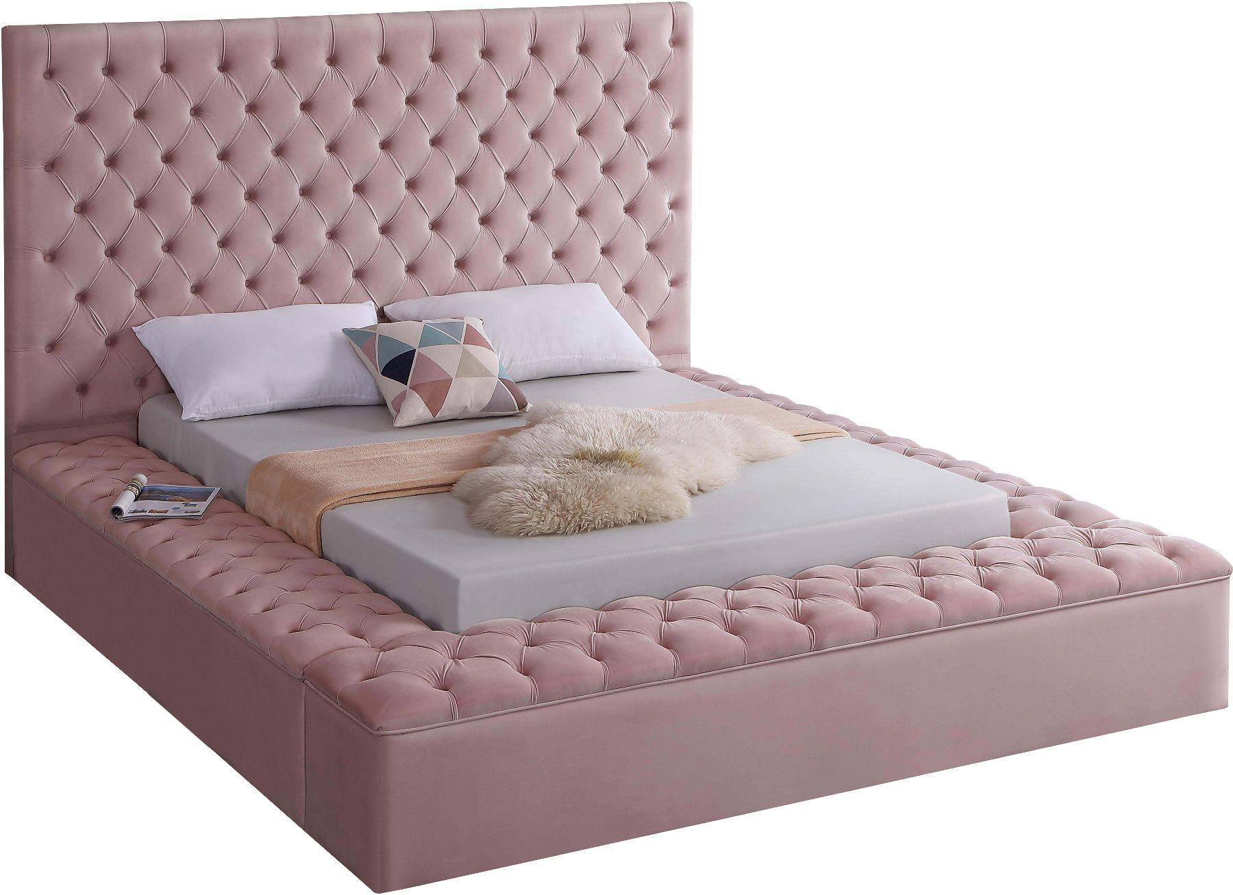 Meridian Bliss Pink Velvet Tufted Full Bed W/ Storage in